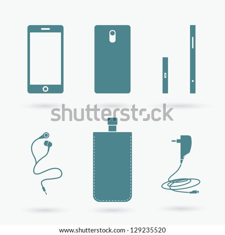 Cell phone and accessories - vector illustration - stock vector