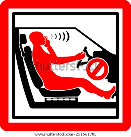 Cell phone and driving icon - stock vector