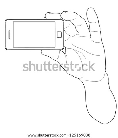 Cell phone and hand - stock vector