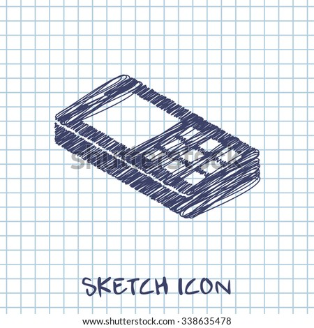 cell phone 3d isometric sketch icon