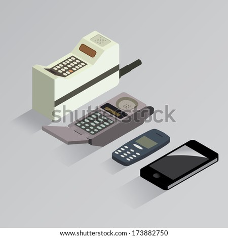 Cell phone evolution vector isometric - stock vector
