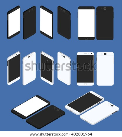 Cell phone. Flat isometric. Big set of Mobile device. Modern technologies of communication. Communication and management. White and black smartphone. Touchscreen display. Vector illustration. - stock vector
