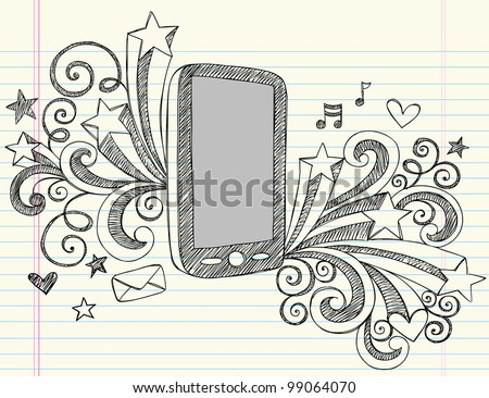 Cell Phone Mobile PDA Sketchy Notebook Doodles with Swirls, Hearts, Email, Music, and Shooting Stars- Hand Drawn Vector Illustration Design Elements on Lined Sketchbook Paper Background - stock vector