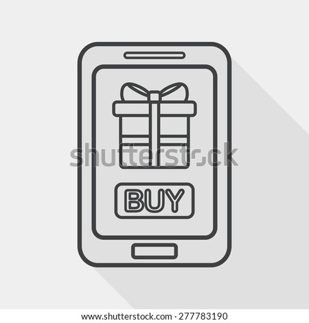 cell phone online shopping flat icon with long shadow, line icon - stock vector