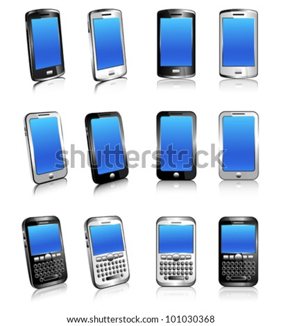 Cell Phone Smart Mobile Silver White 3D and 2D - stock vector