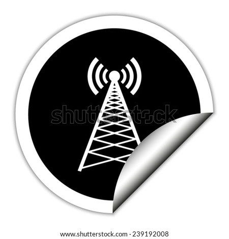 Cell Phone Tower - black vector icon. Round sticker. - stock vector