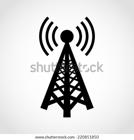 Cell Phone Tower Icon Isolated on White Background - stock vector