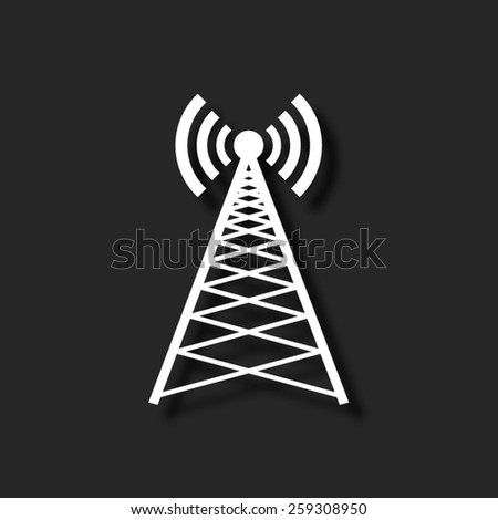 Cell Phone Tower  - vector icon with shadow - stock vector