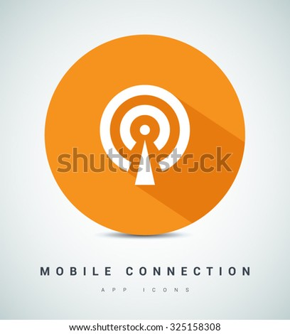 Cell Phone Tower. Wireless Icon. Mobile connection line vector icon for websites and mobile minimalistic flat design. Modern trend concept design style illustration symbol - stock vector