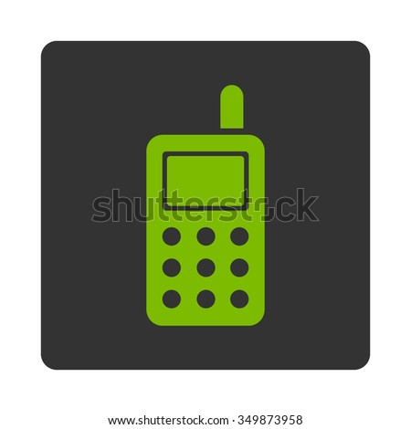Cell Phone vector icon. Style is flat rounded square button, eco green and gray colors, white background.