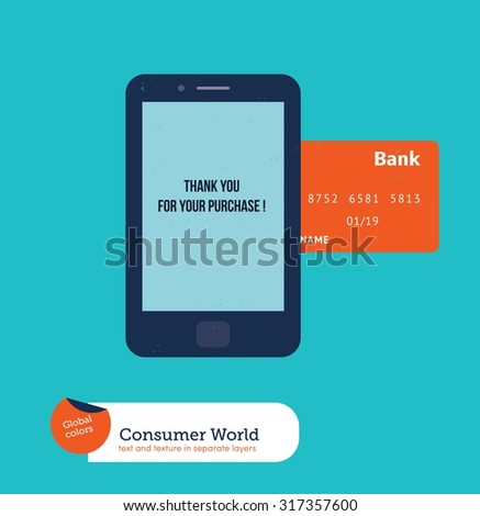 Cell phone with credit card shopping online. Vector illustration Eps10 file. Global colors. Text and Texture in separate layers. - stock vector