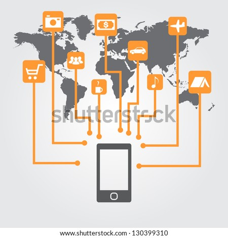 Cell phone with icons on the world map. Management concept with a mobile device. - stock vector