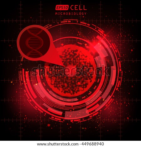 cell research microbiology, abstract red circle HUD element - stock vector