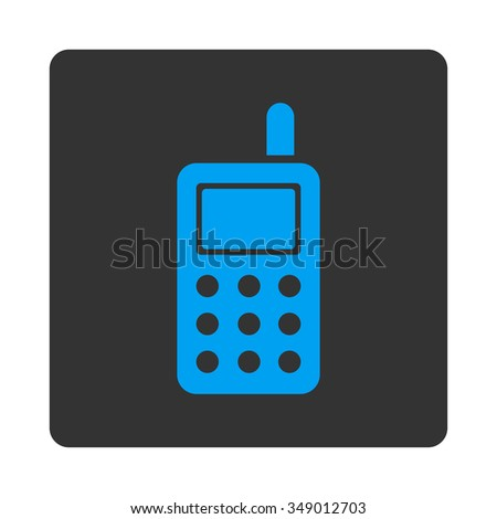 Cell Telephone vector icon. Style is flat rounded square button, blue and gray colors, white background.