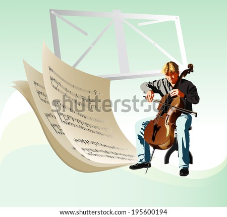 Cellist a musician who plays the cello. Vector. - stock vector