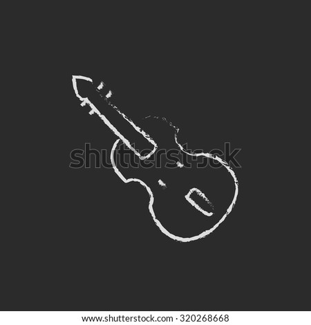 Cello hand drawn in chalk on a blackboard vector white icon isolated on a black background. - stock vector