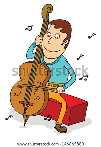 cello player - stock vector