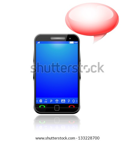 cellphone and bubble - stock vector