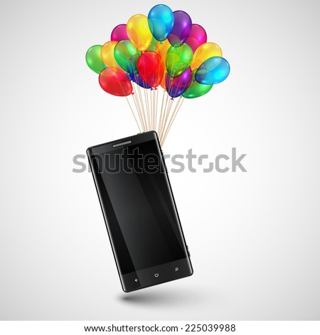 Cellphone as a gift with colorful balloons, vector - stock vector