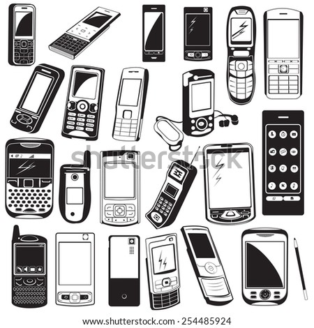 cellphone black icons. - stock vector
