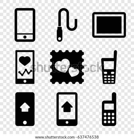 Cellphone Icon Set 13 Filled Cellphoneicons Stock Vector 649467814