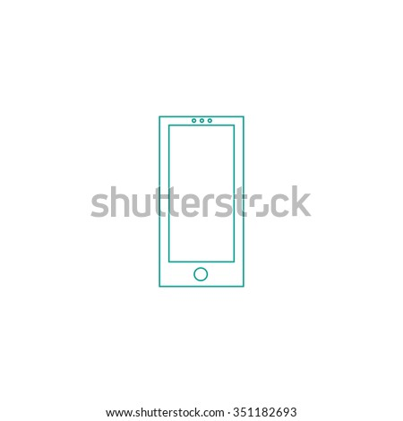 cellphone Outline vector icon on white. Line symbol pictogram