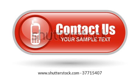 Cellphone Sign Contact Us Button with Space for text - stock vector