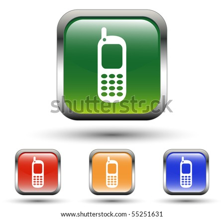 Cellphone Sign Square Icons - stock vector