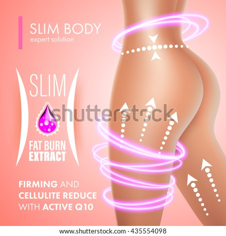 Cellulite bodycare skin firming solution design. Anti-cellulite fat burner extract for slim body. Coenzyme Q10 treatment. - stock vector