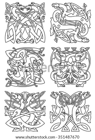 Celtic animal knot ornaments of mythical dragons or beasts with curved wings and tails, arranged in tribal pattern. Use as tattoo, coat of arms or emblem design