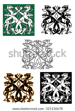Celtic animals pattern with wolfs twisted and tied into knot ornament. For heraldry or art design - stock vector