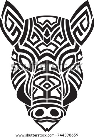 Tribal Boar Head Tattoo