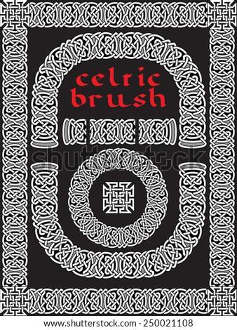 celtic brush for  frame and design seamless vector - stock vector