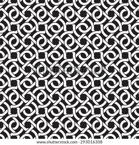 Celtic chain mail. Seamless pattern of intersecting braces with swatch for filling. Fashion geometric background for web or printing design. - stock vector