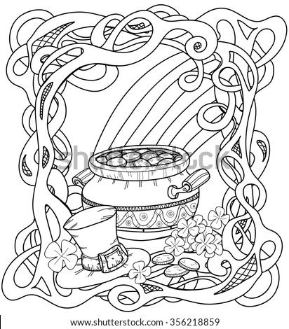 celtic coloring page with pot of gold rainbow leprechaun hat and clovers