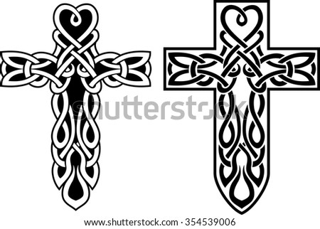Celtic Cross Variation Cross Symbol Isolated On Stock Vector