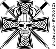 Celtic cross with crossed swords and  skull - stock vector