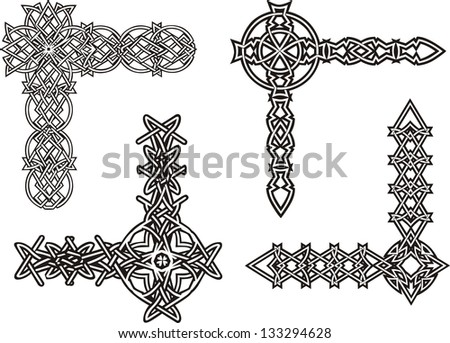 Celtic decorative knot corners. Black and white vector decorations. - stock vector