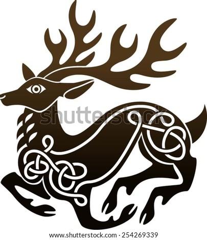 celtic deer stag stock vector 254269339 shutterstock. Black Bedroom Furniture Sets. Home Design Ideas