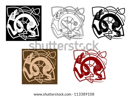 Celtic dog with knots for ornate and decoration, such a logo template. Jpeg version also available in gallery - stock vector