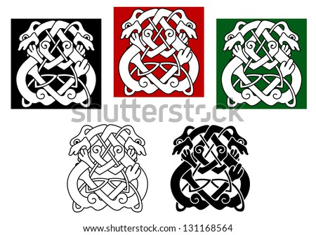 Celtic dogs and wolves pattern with ornamental elements. Jpeg (bitmap) version also available in gallery - stock vector