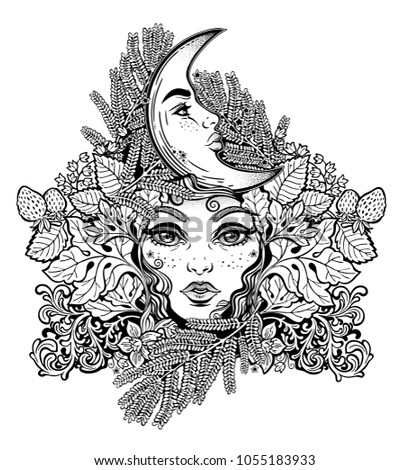Celtic Fairy Elf Shaman Woman With Crescent Moon In Ferns Leaves Flowers