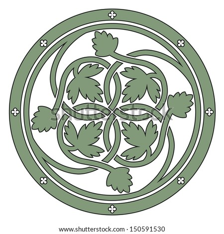 Celtic floral knot, ornament from tile in floor Sainte-Chapelle in Paris - stock vector