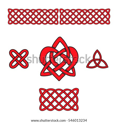 Celtic Heart and Trinity knots. Red isolated silhouettes on a white background. Vector illustration
