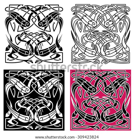Celtic knot pattern with gorgeous herons with crests, wings and legs. For tattoo or art design - stock vector