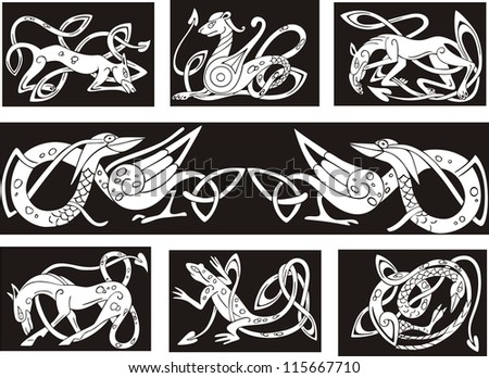 Celtic Knot Patterns With Animals Set Of Vector Illustrations