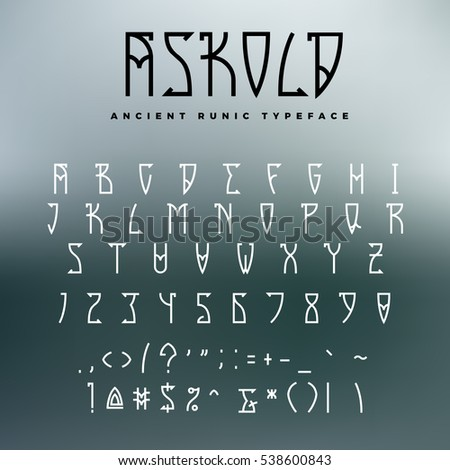 Celtic Runic Typeface Uppercase Letters Numbers Stock Vector