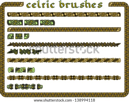 Celtic ornament in a vector seamless for creation of brushes - stock vector