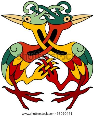 Celtic ornamental herons - stock vector