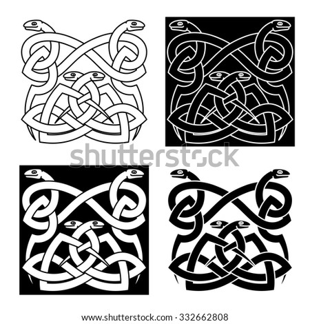 Celtic snakes traditional pattern with intricate knot ornament in tribal style, for tattoo or embellishment design - stock vector